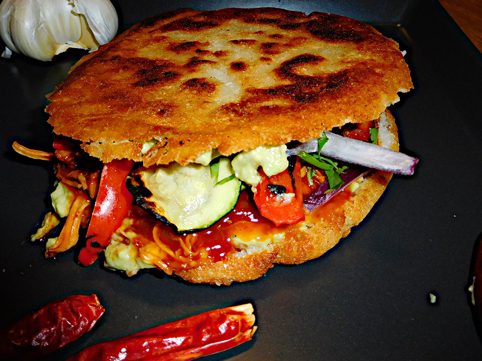 Spicy Chicken Arepa – Cuban Burger